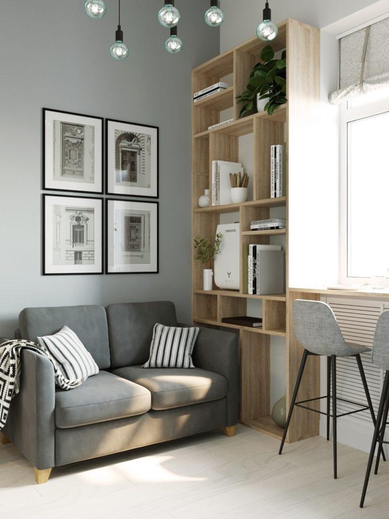 Компактность и функциональность: дизайн-проект квартиры-студии площадью 12 м²