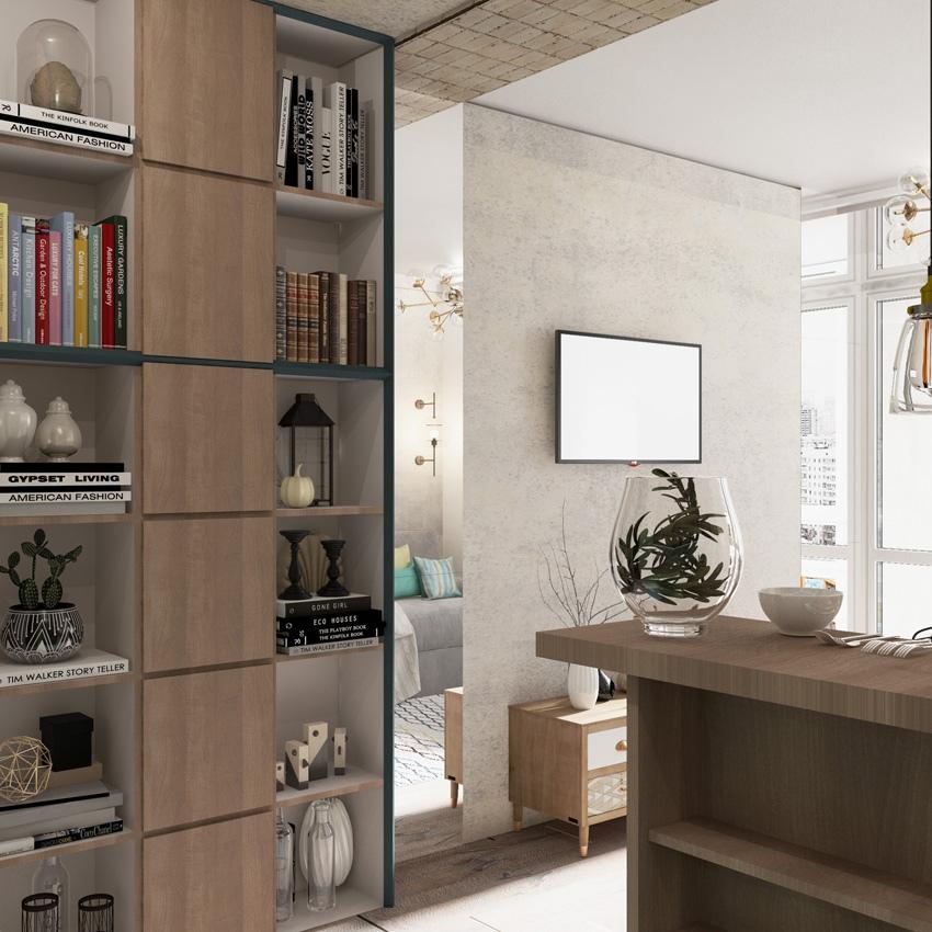 Необычное решение для квартиры-студии типовой прямоугольной планировки 28,5 м²