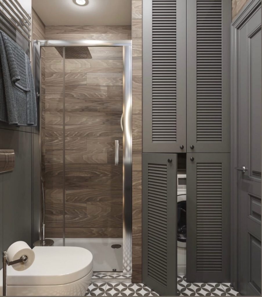 Серый, синий и терракота: решение для квартиры площадью 35 м² в эффектной палитре