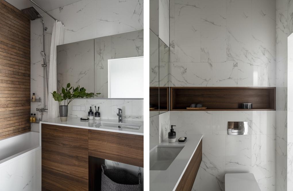 Нескучный белый: стильный интерьер однокомнатной квартиры площадью 35 м² с видом на Лахту