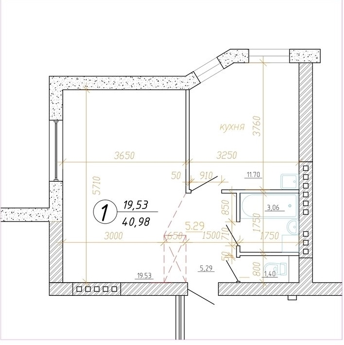 Больше места: перепланировка однокомнатной квартиры площадью 41 м²
