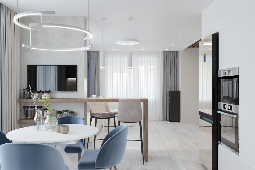 Готовое решение: проект трехкомнатной квартиры площадью 101 м² в светлой палитре