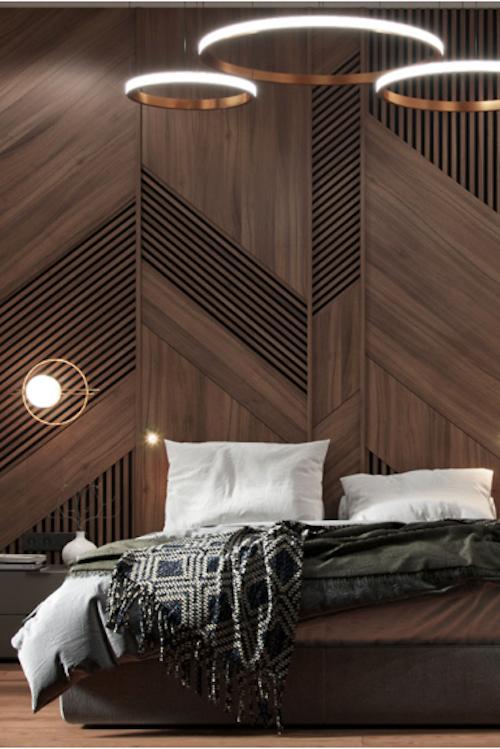 Современный богатый интерьер спальни с кабинетом на балконе
