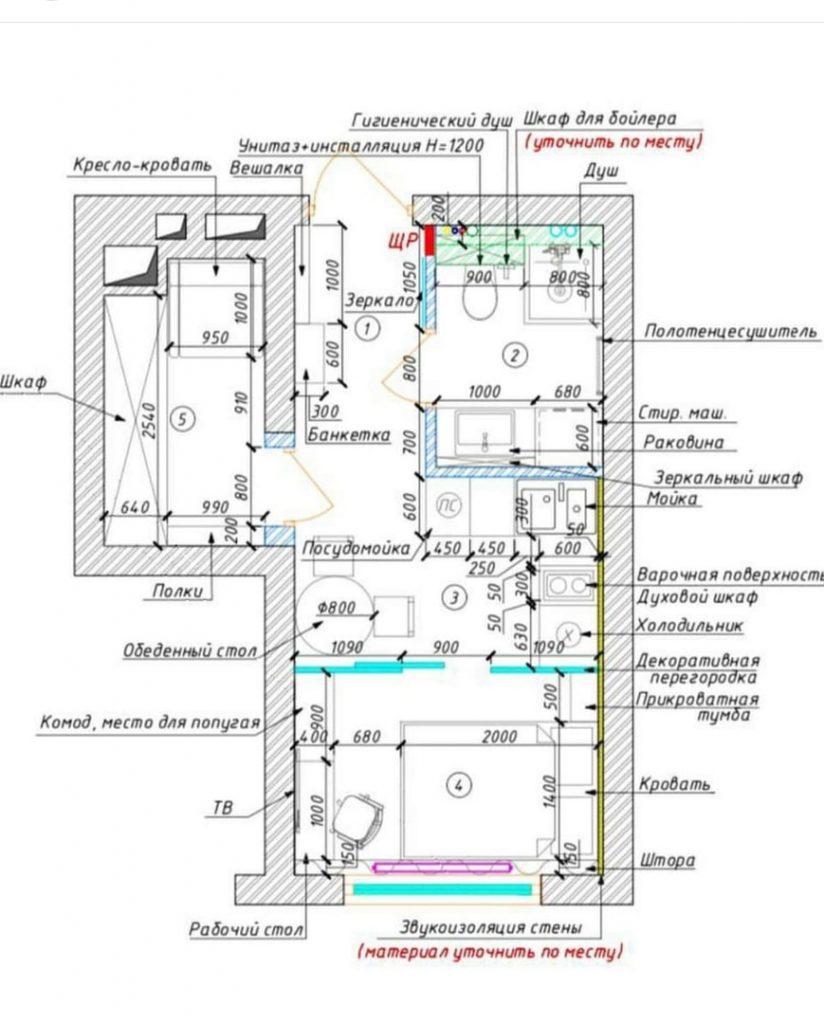 Все что нужно: очень функциональный проект студии площадью 25 м²