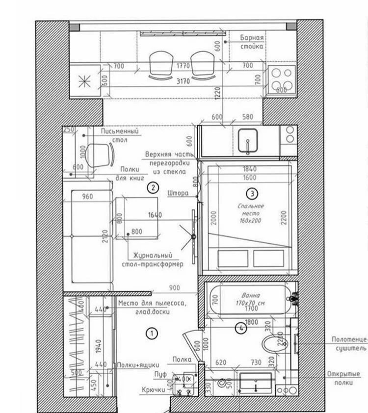 Нестандартное решение: необычный проект зонирования в студии площадью 30 м²