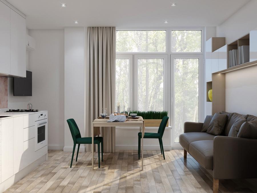 Интерьер маленькой квартиры-студии 19 м², в которой уместилось все
