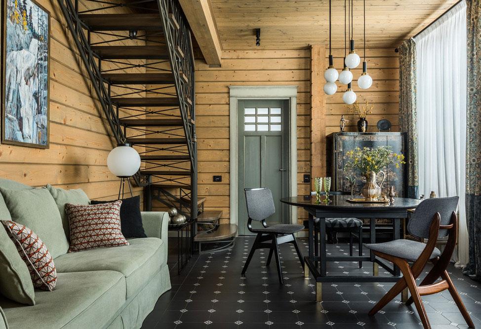 Стильный современный интерьер загородного дома из бруса