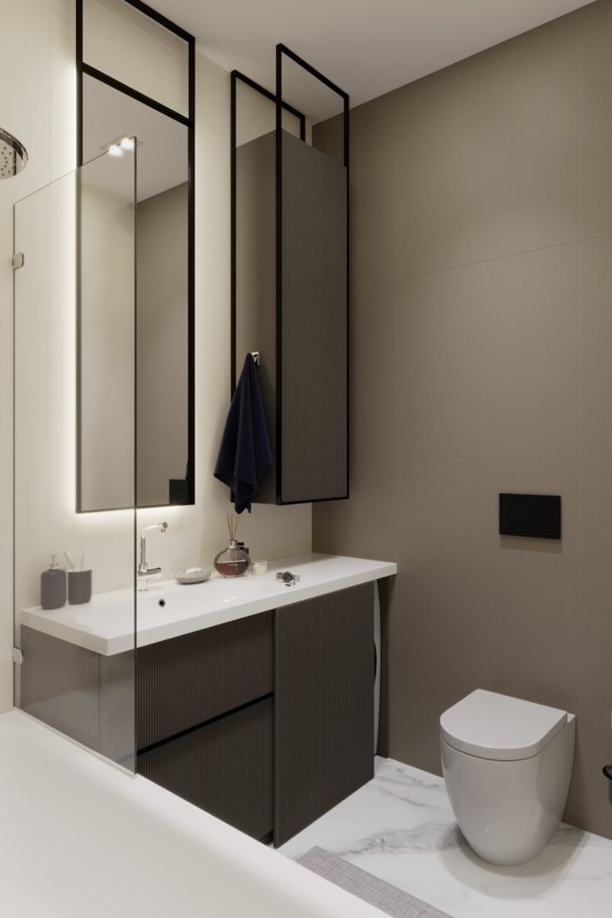 Эффектный интерьер ванной комнаты в стиле минимализм