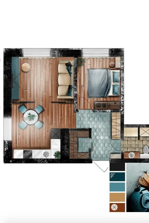 Интерьерные скетчи: как из палитры и плана квартиры рождается скетч с расстановкой