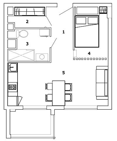 Готовое решение: стильный интерьер квартиры площадью 36 м² с реечной перегородкой