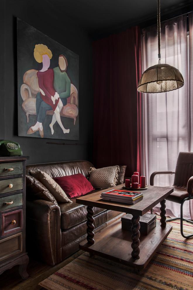 Смелое решение: темный интерьер однокомнатной квартиры площадью 39 м² с угольно-черным оттенком в качестве базового