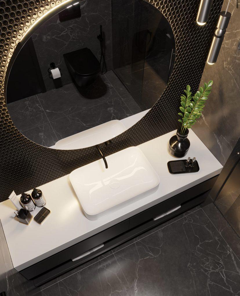 Современный интерьер санузла в чёрном цвете