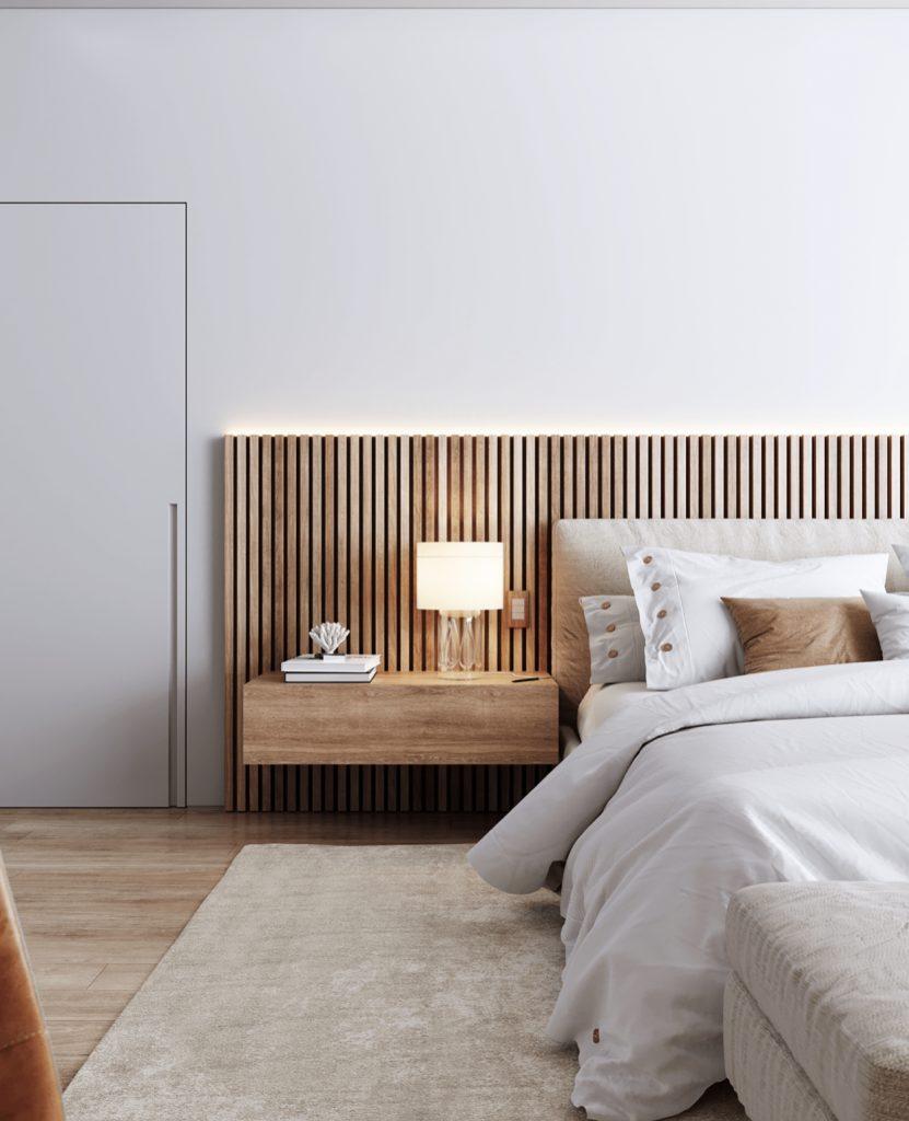 Просторный интерьер мастер-спальни с интересным зонированием