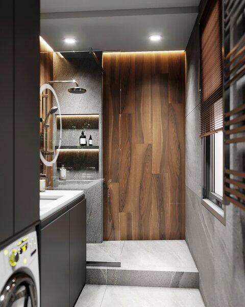Плитка под дерево или ламинат на стене в ванной