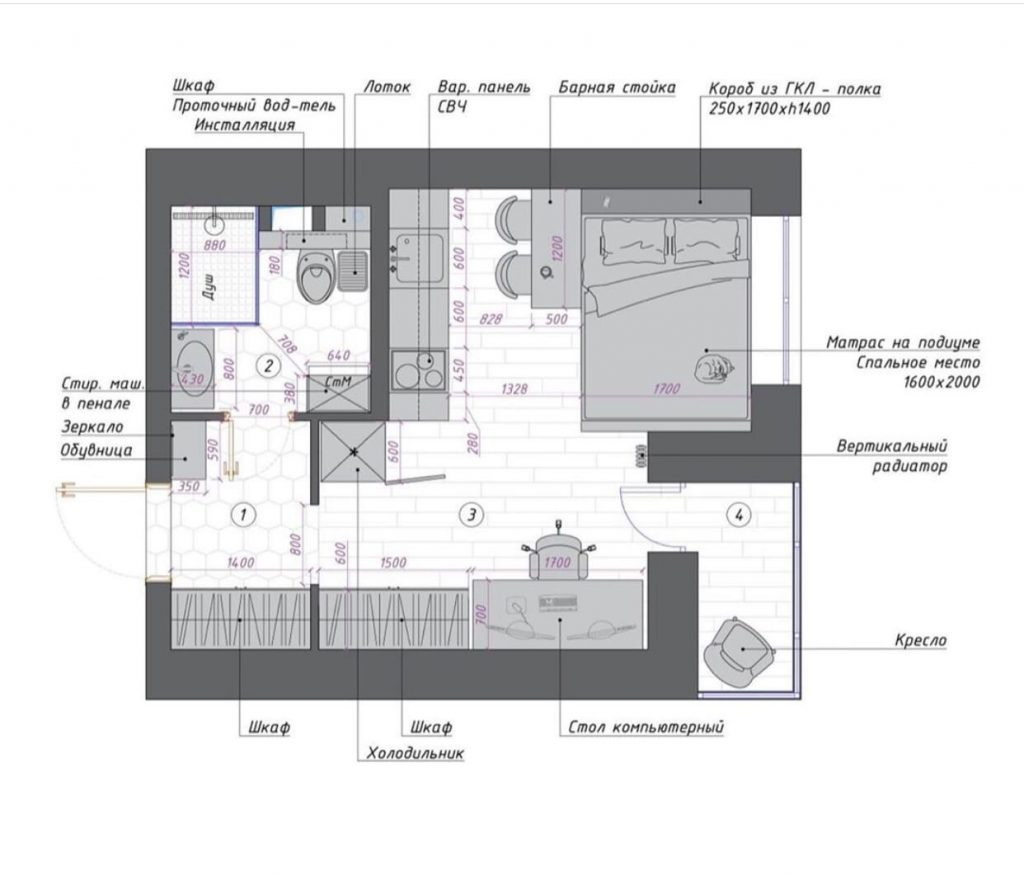 Стильный и лаконичный интерьер студии площадью 23 м²