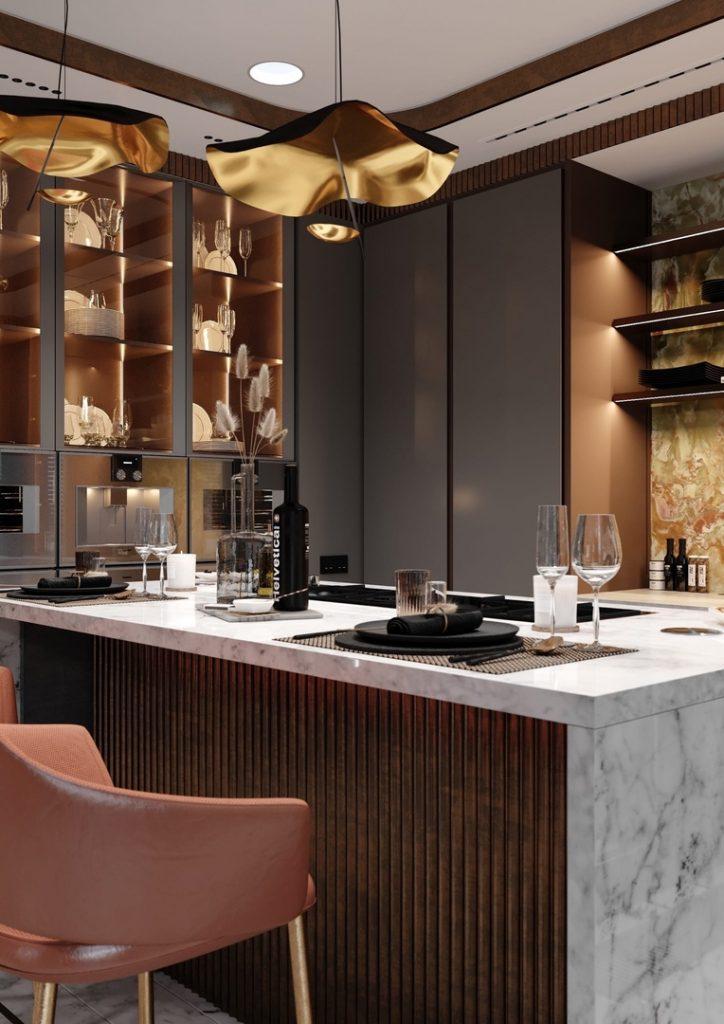 Роскошный интерьер кухни-столовой с теплыми бронзовыми акцентами